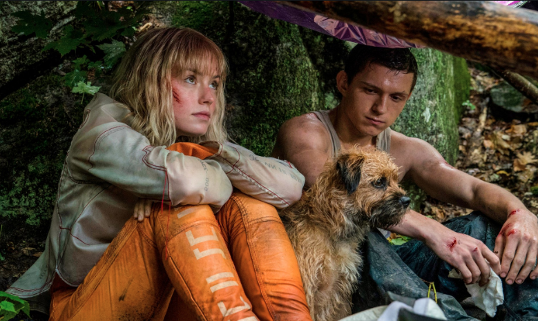 Daisy Ridley, Tom Holland and a dog sitting in the forest